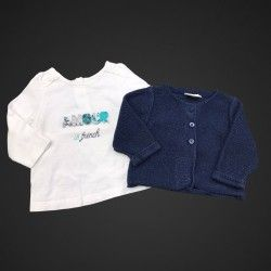 T-shirt ML + gilet TAO 3 mois